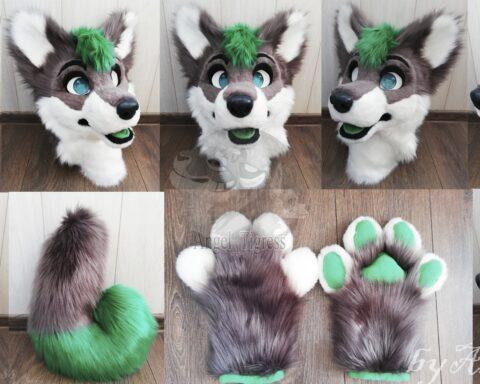 Partial wolf fursuit