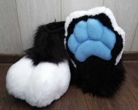 Pocky the red panda fursuit paws