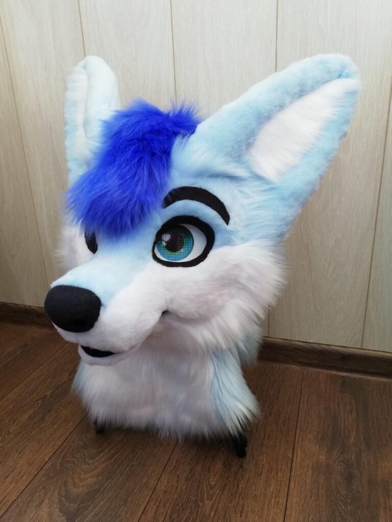 Full Fursuit Light Blue Fox Head