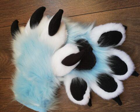 Full Fursuit Light Blue Fox Paws
