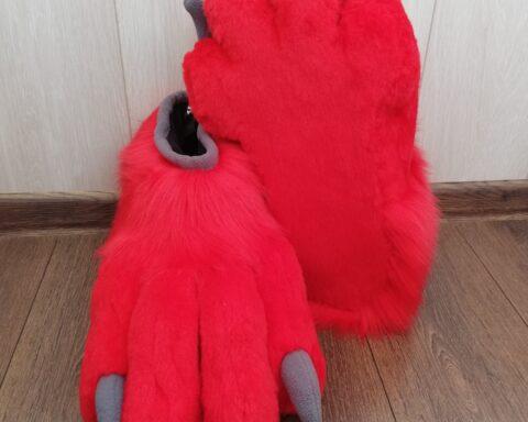 Red Lizard Fursuit Paws