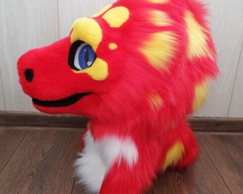 Red Lizard Fursuit Head