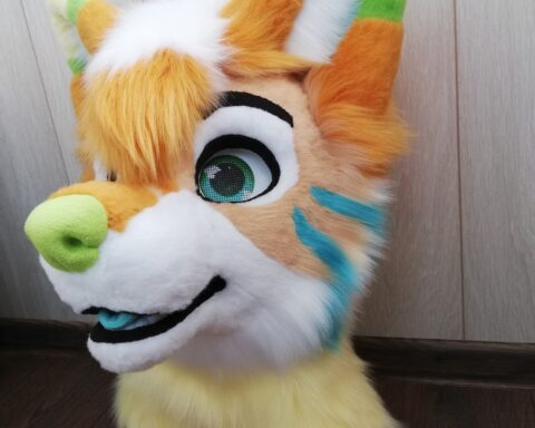 Ginger Dog Partial Fursuit Head